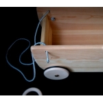 Wooden doll and toy trailer